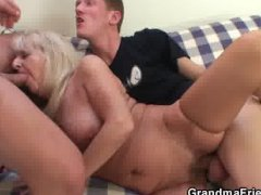 Drunk blonde granny in hot threesome ...