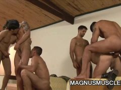 Six Muscular Soldiers Wild Military Orgy Sex