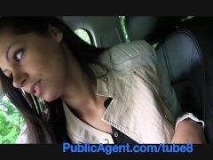Publicagent Stunning brunette babe is bent over on my car