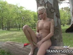Blondie   Beautiful Outdoor Jerking Scene With Hot Shemale