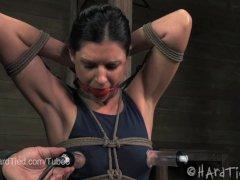 MILF India Summer Nipple Suction in Rope Bondage