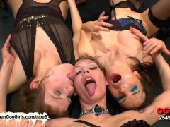Susana Viktoria and Luisa three gorgeous brunette bukkake lovers