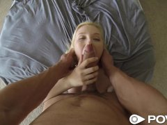 POVD Blonde sucks and fucks outside by pool in POV