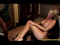 Blonde milf rides her lovers cock