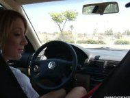 blonde Amy blows her coac...