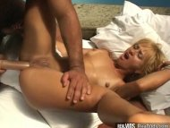 Tanned blonde anal fucked...