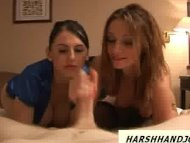 Two sexy babes punish guy...