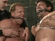 Strong gays tied in rope ...