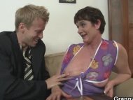 Her hairy old cunt gets h...