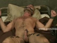 Athletic gay hunk with st...