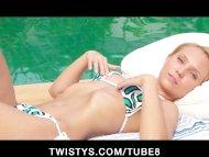 Poolside bikini blonde ru...