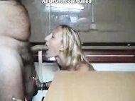 Blonde girl blowing cock
