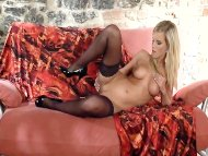 Hot blonde in stockings p...