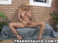 yummy blonde tranny babe ...