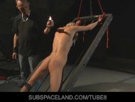 Skinny blonde restrained ...