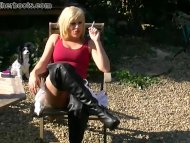 Sexy blonde gives you close ups of her pussy while smoking in leather boots view on tube8.com tube online.