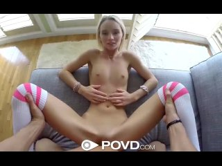 HD - POVD Petite blonde Sammie Daniels swallows POV style
